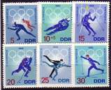 miniature RDA 1968  Y&T  1031-1036  N**   sports  JO Grenoble