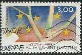 miniature France 1999 - Parlement européen - Folon - 3237 oblitéré .