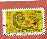 miniature France2008:A 247 caméléon bonnes fetes  oblitéré