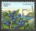 miniature Canada - 1992 - Y&T n° 1262 - Obli. - Bleuet - Baies sauvages - Série courante