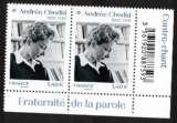 miniature France 2020 Y&T ** Andrée Chedid 2 timbres de feuille à format réduit en bas et à droite de la feuil