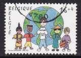 miniature TIMBRE OBLITERE DE BELGIQUE - CINQUANTENAIRE DE L'UNICEF : DESSIN D'ENFANT N° Y&T 2670