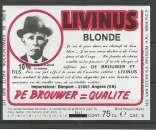 miniature Etiquette de Bière - Belgique - Livinus Blonde - 75 cl - Brie Van Eecke - Neuve