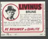 miniature Etiquette de Bière - Belgique - Livinus Brune - 75 cl - Brie Van Eecke - Neuve