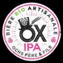 miniature Etiquette Bière Française - OX bio IPA - étiquette décollée - légèrement déchirée coté bord droit.