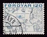 miniature TIMBRE OBLITERE DES ILES FEROE - POUTRE D'UNE CARTE DES PAYS DU NORD FAITE EN 1573 N° Y&T 8