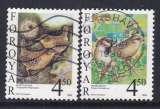 miniature PAIRE OBLITEREE DES ILES FEROE - OISEAUX SEDENTAIRES : TROGLODYTE ET MOINEAU N° Y&T 348/349