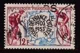 miniature TIMBRE OBLITERE DE FRANCE - CINQUANTENAIRE DU TOUR DE FRANCE CYCLISTE N° Y&T 955