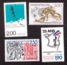 miniature France 1987 Y&T 2480 - 2481 - 2482 - 2495 ** câbles Grenoble, Pieds-Noirs, lutte... cote 4,75€
