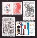 miniature France 1987 Y&T 2461 - 2467 - 2470 - 2475 ** Philexfrance, coutellerie, Le Corbusier... cote 4,50€