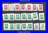 miniature FRANCE - Oblitéré sur fragment - Lot de 24 timbres - Marianne courante et préoblitérés - TCA 352